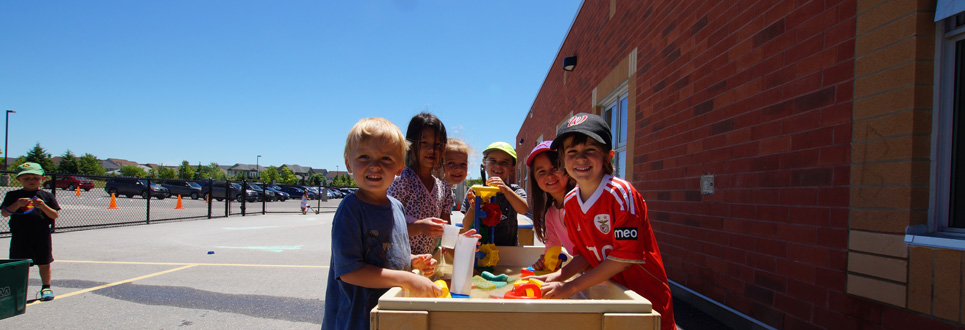 Students outside playing during recess